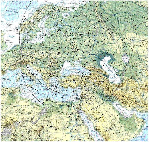 Sternenkarte ueber Landkarte